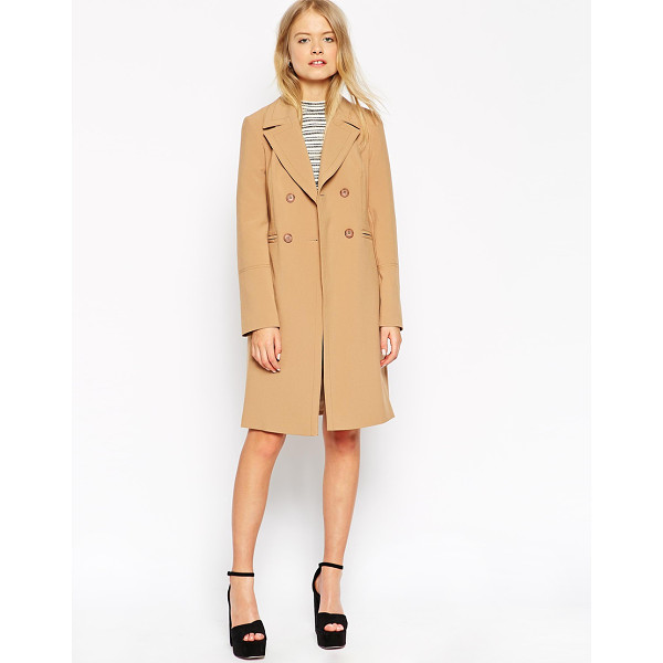 ASOS Coat with Contrast Topstitch - Coat by ASOS Collection, Mid-weight canvas, Satin lining,...
