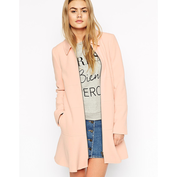 ASOS Coat with dropped pephem - Coat by ASOS Collection, Mid-weight thick, soft fabric,...