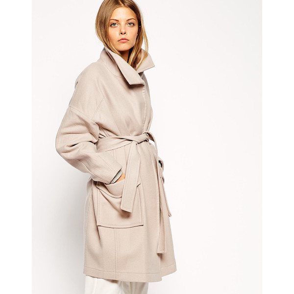ASOS Coat with kimono sleeve and funnel neck - Coat by ASOS Collection Woven wool fabric Funnel neckline...