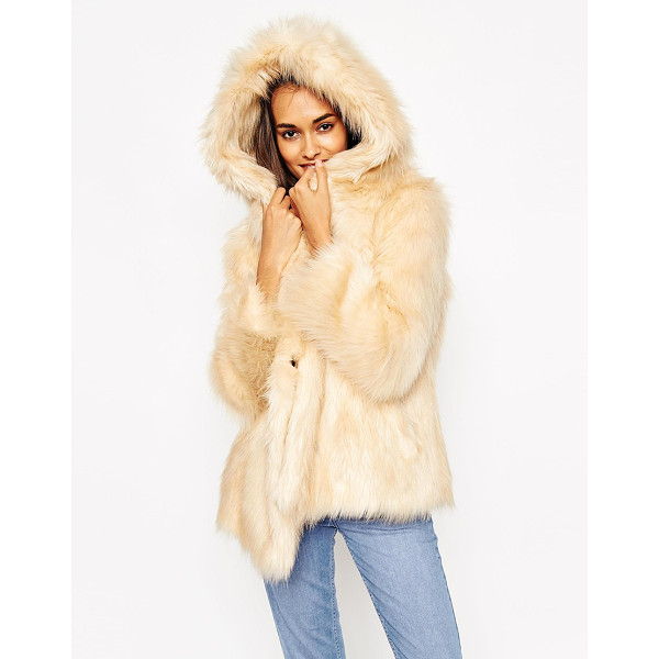 ASOS Coat with oversized hood in vintage faux fur - Coat by ASOS Collection Faux fur Fully lined Soft-touch...