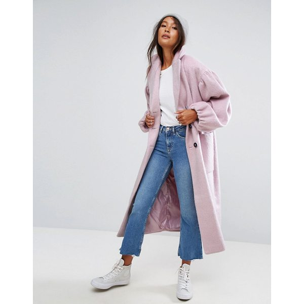 """ASOS Coat with Statement Sleeve - """"""""Coat by ASOS Collection, Wool-mix woven fabric, Notch..."""