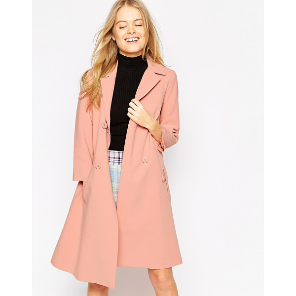 ASOS Coat with swing fit and pleat back - Coat by ASOS Collection Mid-weight woven fabric Notched...