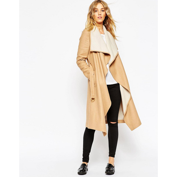 ASOS Coat with waterfall front and belt - Coat by ASOS Collection, Heavyweight, wool-mix fabric,...