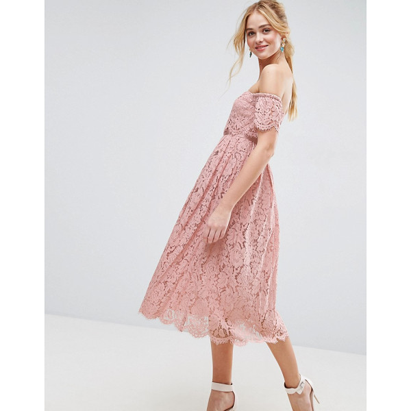 """ASOS Off the Shoulder Lace Prom Midi Dress - """"""""Midi dress by ASOS Collection, Lined lace, Bardot..."""