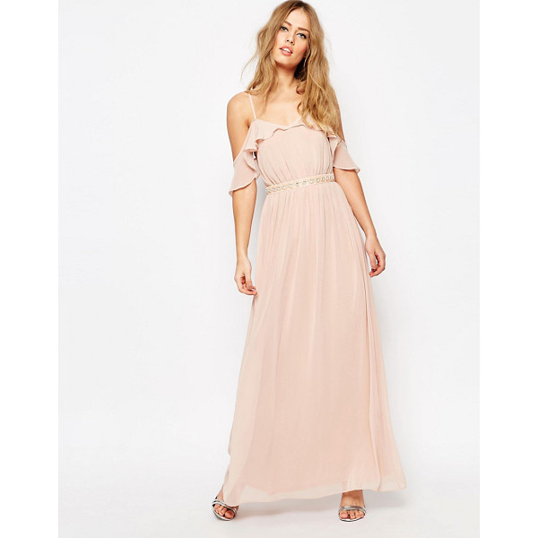 "ASOS Cold Shoulder Maxi Dress With Embellished Waist - """"Maxi dress by ASOS Collection, Lined chiffon, V-neckline,..."