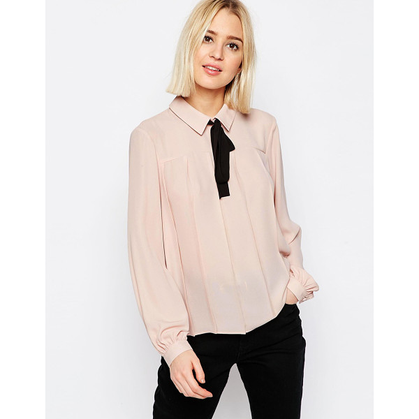 ASOS Contrast tie pleat detail blouse - Blouse by ASOS Collection, Lightweight woven fabric, Point...