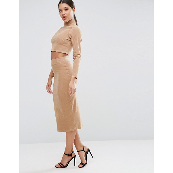 ASOS Cord Tube Midi Skirt in Nude Co-ord - Midi skirt by ASOS Collection, Stretch woven fabric,...