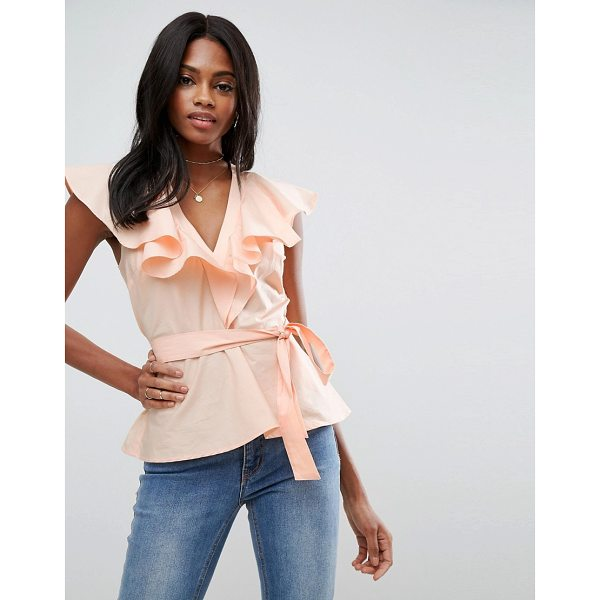 """ASOS Cotton Blouse with Ruffle Front & Tie Waist - """"""""Blouse by ASOS Collection, Woven cotton, V-neck, Ruffle..."""