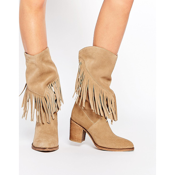 ASOS Crazy happy suede fringe boots - Boots by ASOS Collection Real suede upper Almond toe Fringe...