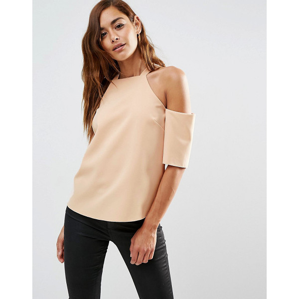 ASOS Crepe Cold Shoulder With High Neck Detail - Top by ASOS Collection, Woven crepe, Square neckline,...