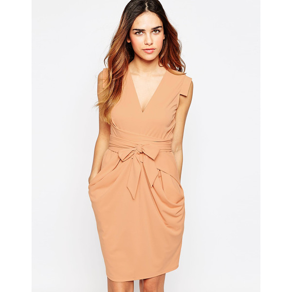 ASOS Crepe Dress with Obi Wrap - Dress by ASOS Collection, Smooth crepe, V-neckline, Cap...