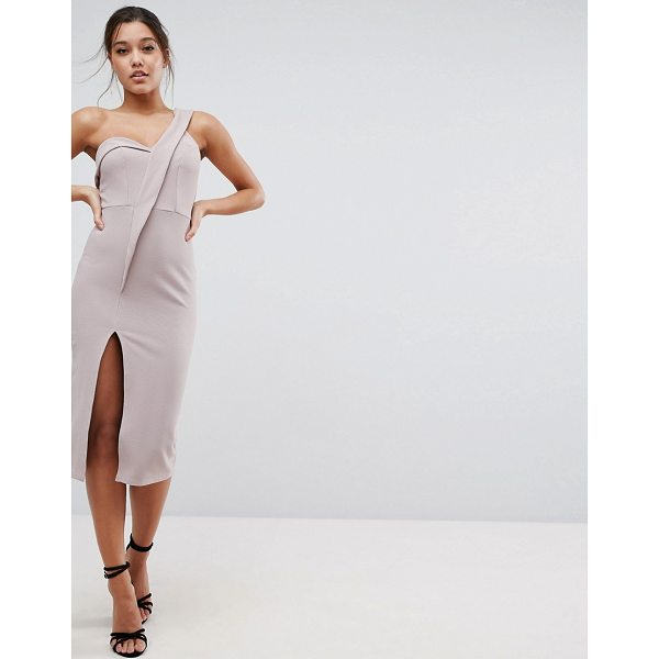 ASOS Crepe Tux One Shoulder Midi Dress - Dress by ASOS Collection, Lightly-textured crepe,...