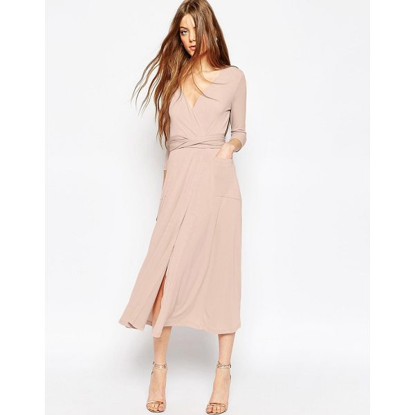 "ASOS Crepe Wrap Midi Dress - """"Maxi dress by ASOS Collection, Stretch crepe, Wrap front,..."