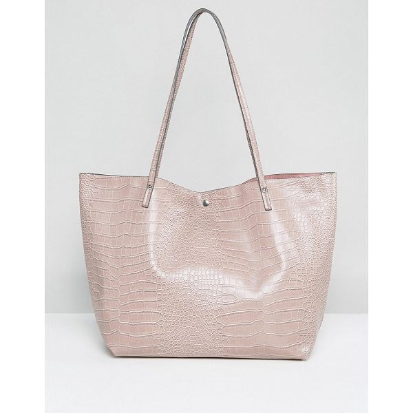 "ASOS Croc Bonded Shopper Bag - """"Bag by ASOS Collection, Faux-leather outer, Croc-effect..."