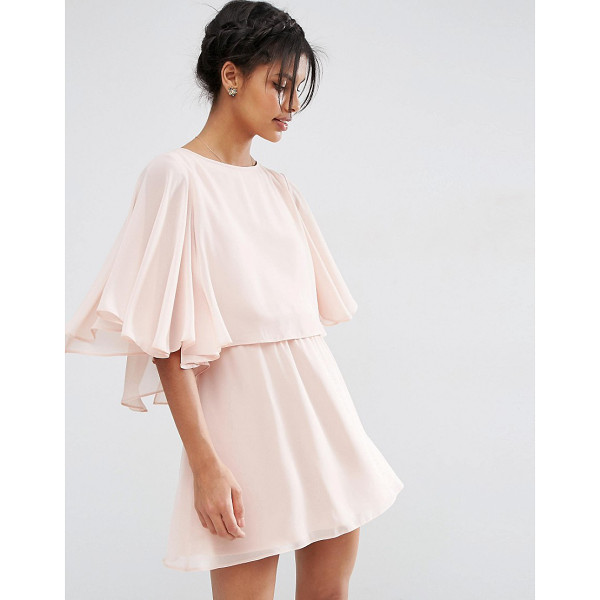 ASOS Crop Cape Mini Skater Dress - Dress by ASOS Collection, Lined chiffon, Crew neckline,...