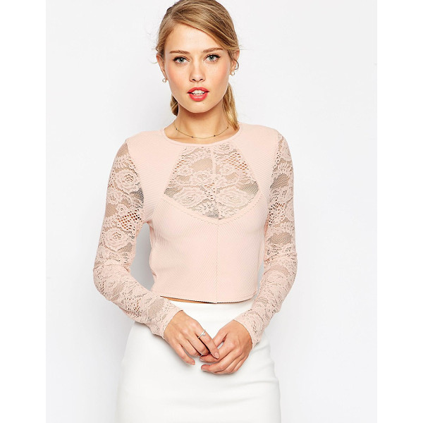 ASOS Crop top in lace with baby rib - Top by ASOS Collection Stretch, ribbed fabric Round...