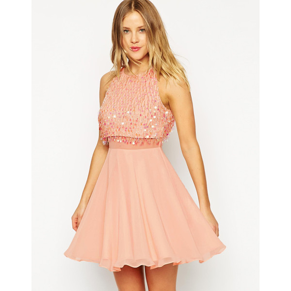 ASOS Crop top skater dress with sequin droplets - Skater dress by ASOS Collection Lined chiffon Bead and...