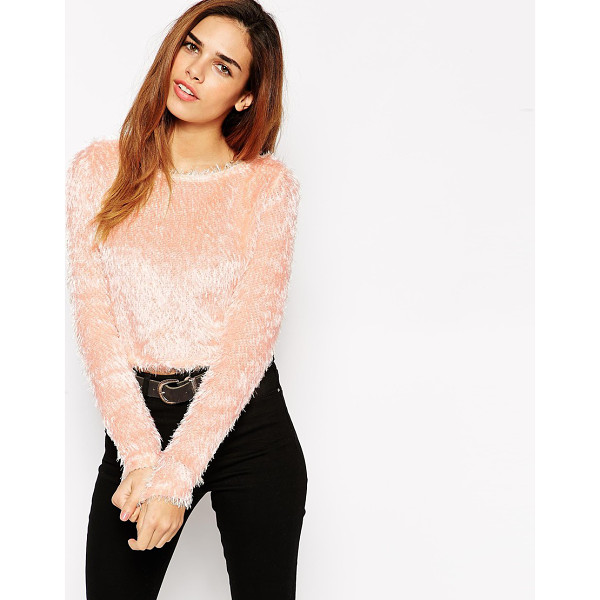 ASOS Cropped sweater in fluffy fabric - Sweater by ASOS Collection Fluffy-feel eyelash knit Boat...