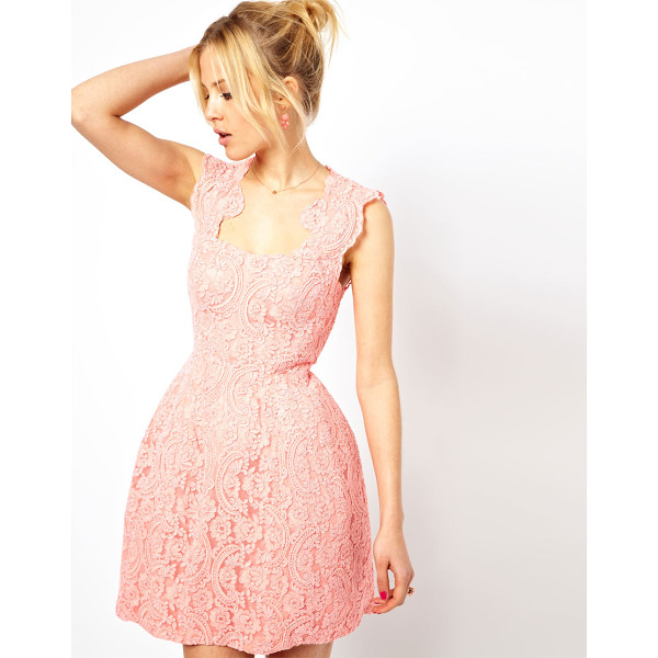 ASOS Cupped Structured Dress In Lace - Dress by ASOS Collection - Made from a cotton-blend fabric-...