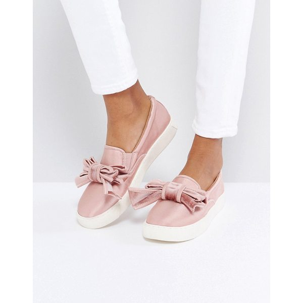ASOS DANDY Bow Sneakers - Plimsolls by ASOS Collection, Satin upper, Slip-on design,...