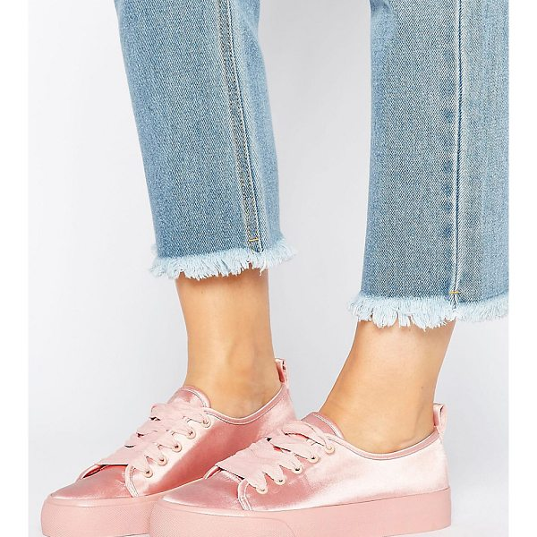 ASOS DARLING Wide Fit Satin Sneakers - Sneakers by ASOS Collection, Satin-style upper, Lace-up...