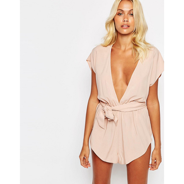ASOS Deep Plunge Oversize Tie Beach Romper - Romper by ASOS Collection, Soft-touch woven fabric, Deep...