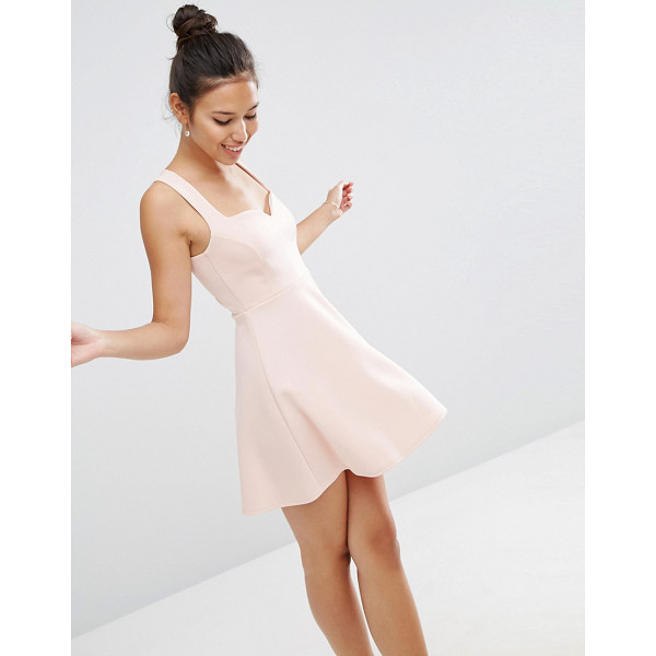 ASOS Deep Plunge Scuba Skater Sweetheart Mini Dress - Skater dress by ASOS Collection, Scuba fabric, Sweetheart