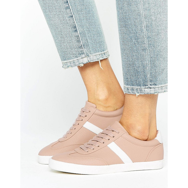ASOS DELPHINE Stripe Lace Up Sneakers - Sneakers by ASOS Collection, Textured faux-leather upper,...