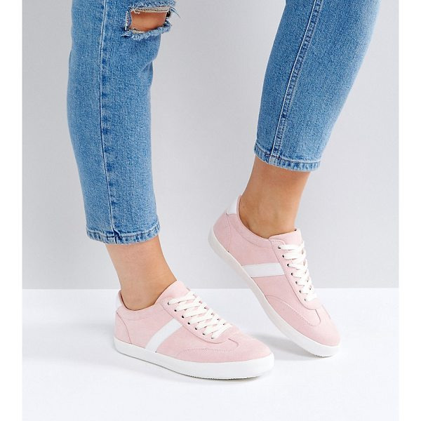 ASOS DELPHINE Wide Fit Stripe Lace Up Sneakers - Sneakers by ASOS Collection, Textile upper, Lace-up...
