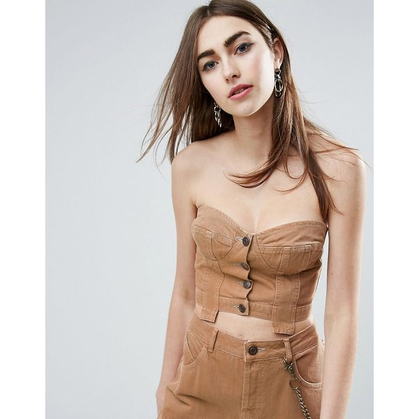 "ASOS Denim Button Through Corset in Washed Brown Co-ord - """"Top by ASOS Collection, Cotton denim, Cupped design,..."