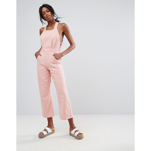 "ASOS Denim Halter Jumpsuit in Soft Pink - """"Jumpsuit by ASOS Collection, Non-stretch denim,..."