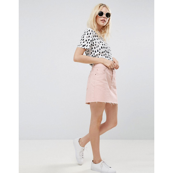 "ASOS Denim Low Rise Skirt in Washed Pink - """"Skirt by ASOS Collection, Cotton denim, Low rise, Button..."