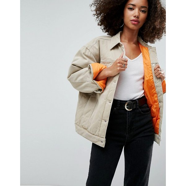 ASOS Denim Wadded Jacket in Stone - Jacket by ASOS Collection, Lined woven fabric, Point...