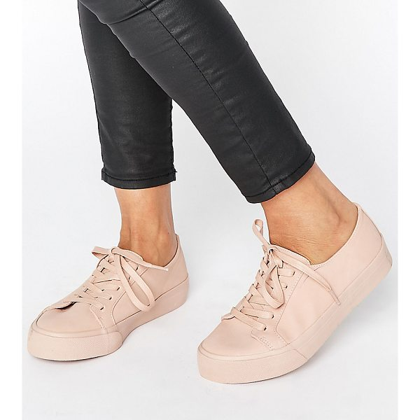 ASOS DESTINY Wide Fit Lace Up Sneakers - Sneakers by ASOS Collection, Faux-leather upper, Lace-up...