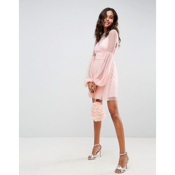 """ASOS Dobby Mesh Balloon Sleeve Mini Dress - """"""""Dress by ASOS Collection, Semi-sheer dotted mesh, Partial..."""