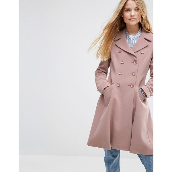 ASOS Double Breasted Skater Coat - Coat by ASOS Collection, Soft-touch crepe, Heavyweight...