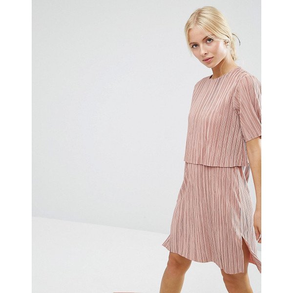 """ASOS Double Layer T-Shirt Dress In Plisse - """"""""Dress by ASOS Collection, Pleated slinky fabric, Round..."""