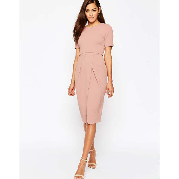 ASOS Double Layer Textured Wiggle Dress - Midi dress by ASOS Collection, Textured stretch fabric,...