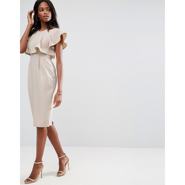 ASOS Double Layer Wiggle Dress With Cut Outs and Angel Sleeve - Midi dress by ASOS Collection, Woven fabric, Crew neck,...