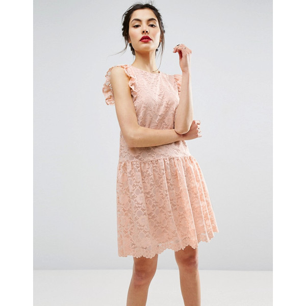 """ASOS Dropped Waist Lace Dress - """"""""Dress by ASOS Collection, Lined lace, Crew neck, Frill..."""