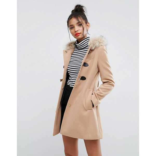 "ASOS Duffle Coat with Faux Fur Hood - """"Coat by ASOS Collection, Midweight woven fabric, Fixed..."
