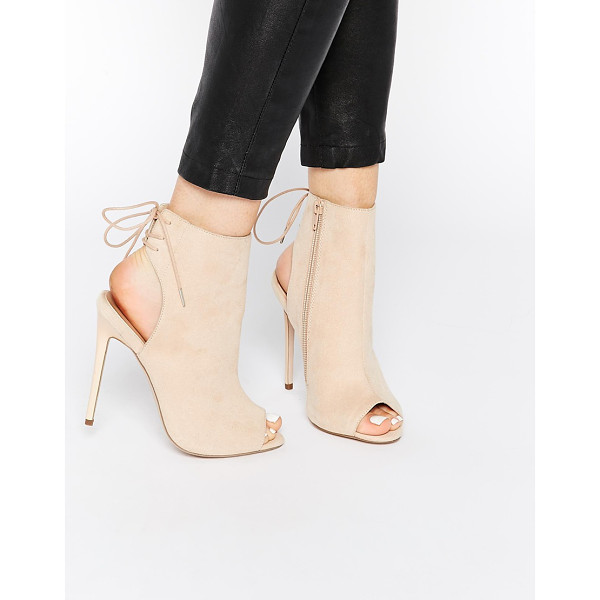 ASOS East town peep toe shoe boots - Boots by ASOS Collection, Suede-look upper, Cut-out heel,...