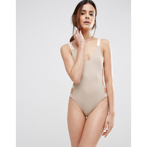 ASOS Elastic Trim Strappy Side Swimsuit - Swimsuit by ASOS Collection, Plain swim fabric, Scoop...