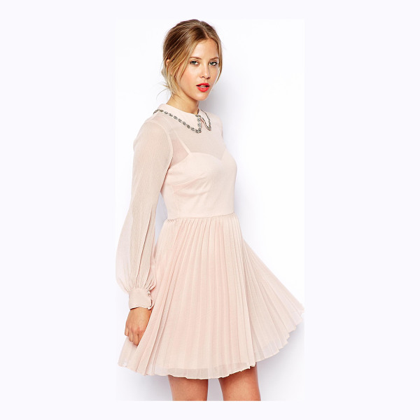 ASOS Embellished collar pleat skater dress - Hand Wash Only. Shell: 100% Polyester Lining: 100% Viscose...