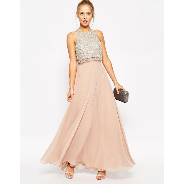 ASOS Embellished crop top maxi dress - Evening dress by ASOS Collection Lightly textured woven...