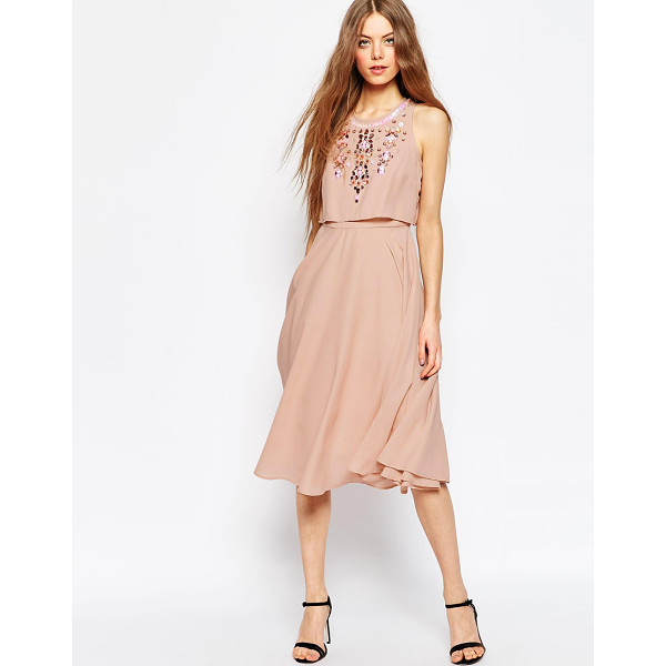 ASOS Embellished Crop Top Midi Dress - Midi dress by ASOS Collection, Woven fabric, Embellished...