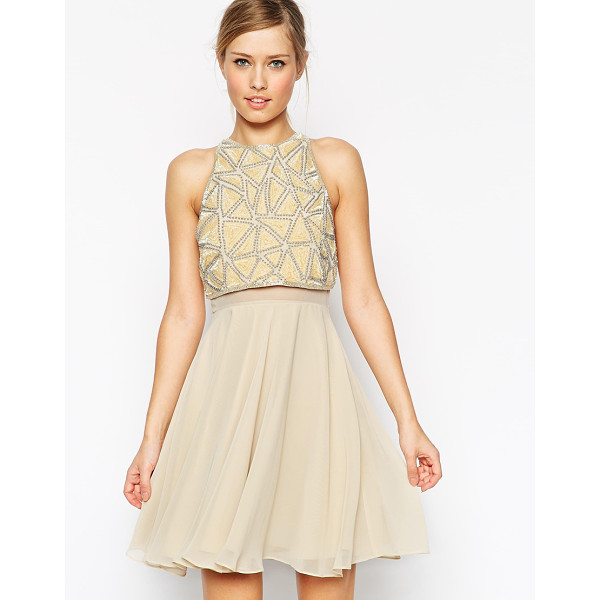 ASOS All over embellished crop top skater dress - Dress by ASOS Collection 100% Polyester Textured crepe...