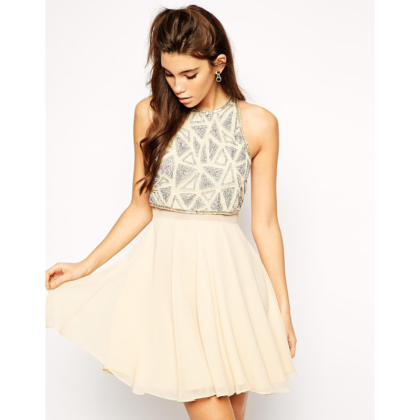 ASOS All over embellished crop top skater dress - Dress by ASOS Collection, 100% Polyester, Textured crepe...
