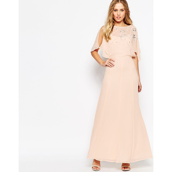 ASOS Embellished Flutter Sleeve Maxi Dress - Maxi dress by ASOS Collection, Woven chiffon, Fully lined,...