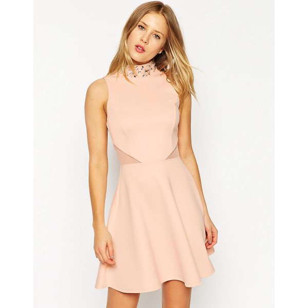 ASOS Embellished high neck skater dress - Skater dress by ASOS Collection, Lined stretch jersey, High...